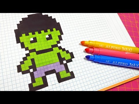 Handmade Pixel Art - How To Draw Hulk #pixelart