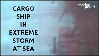 Cargo Ship In Extreme Storm at Sea