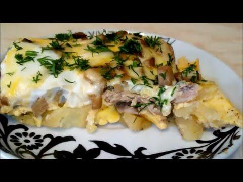 Рецепт: Картофельная запеканка с грибами постная на