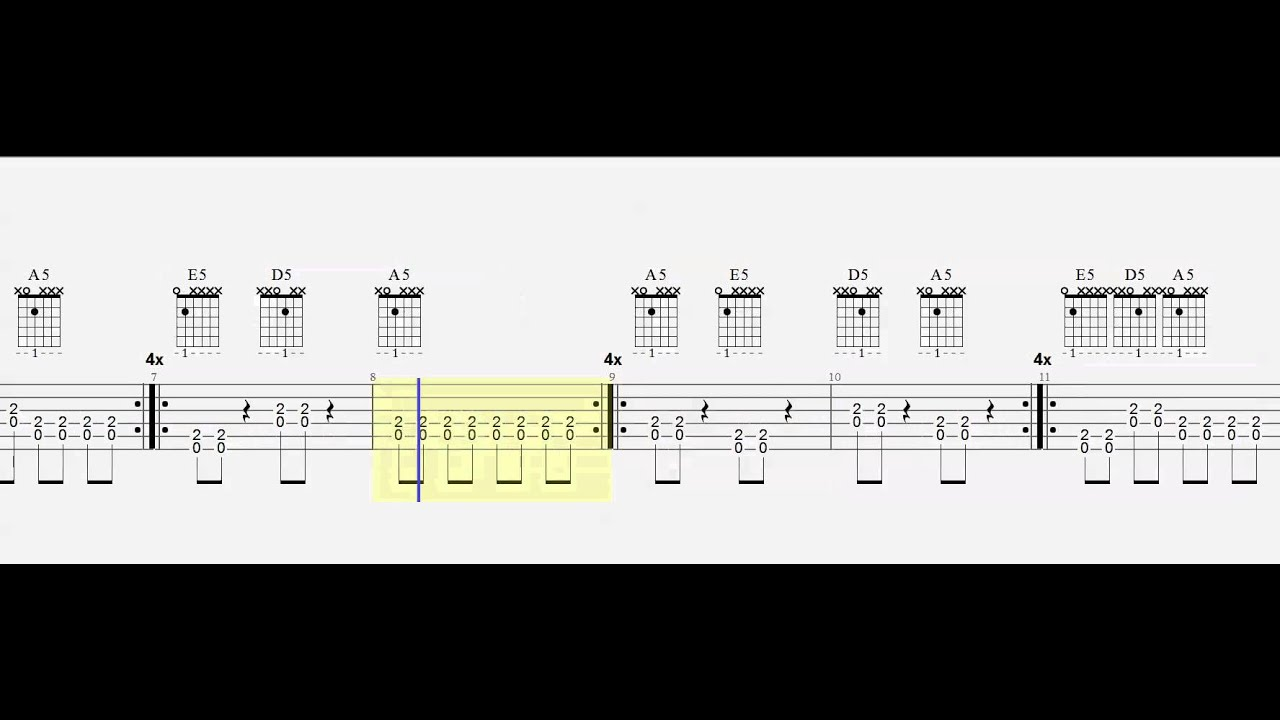 Power Chords E5 A5 D5 Easy 1 Finger Chords Play Along Youtube