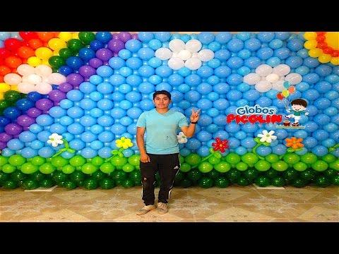Pared Con Globos O Mural Arcoiris Decoración De Globos # 34