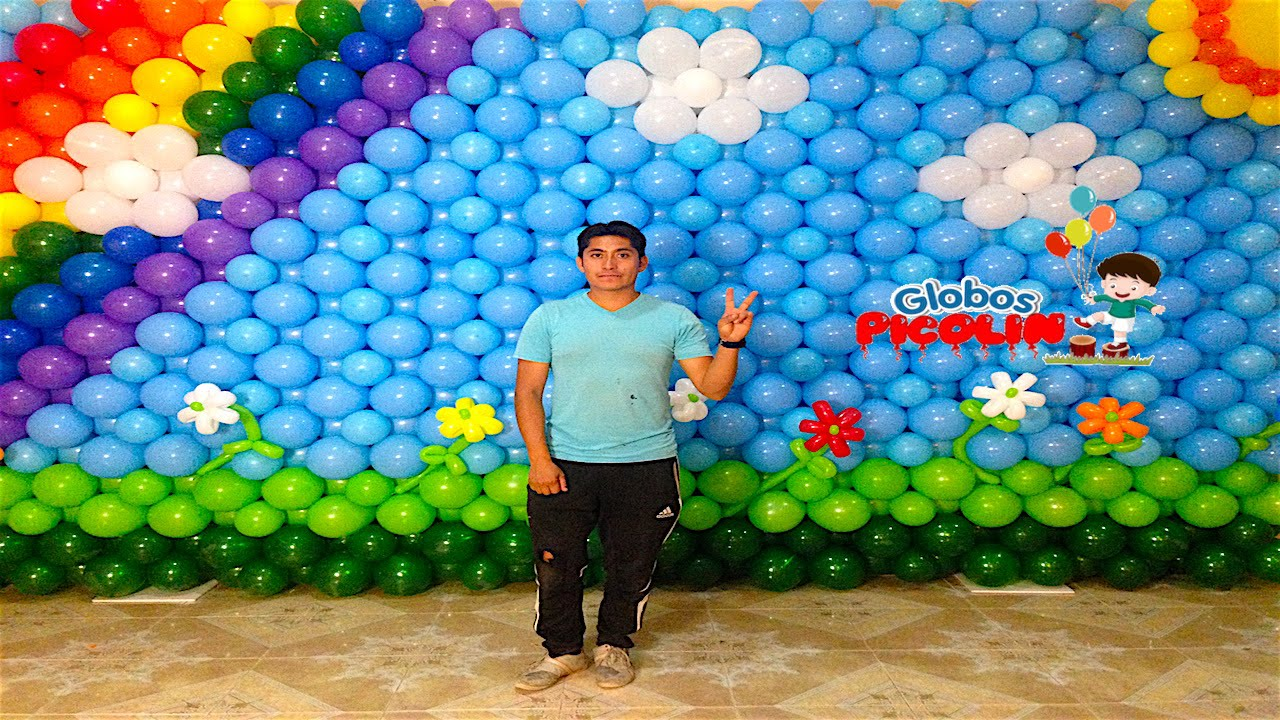 Pared con globos o mural arcoiris decoraci n de globos 34 youtube - Decoraciones de pared ...