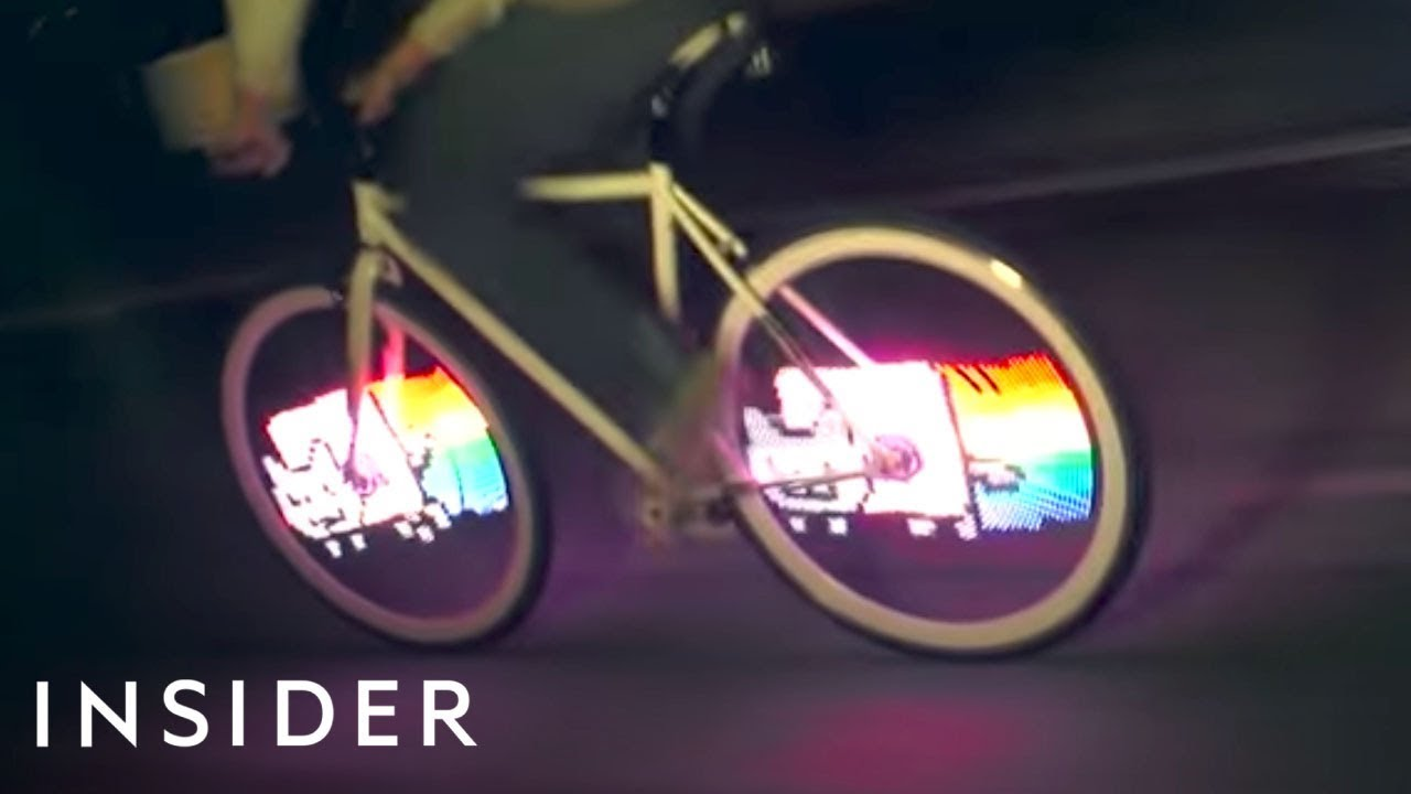 This attachment turns your bike into a colorful LED display