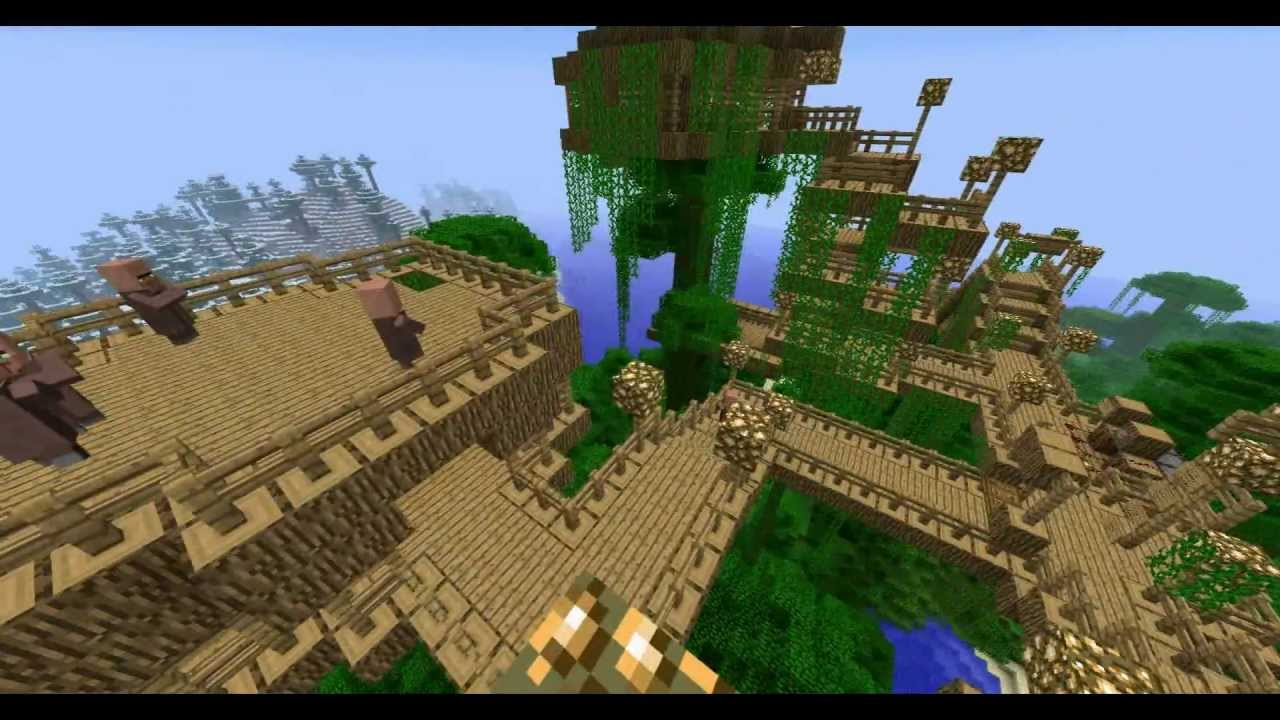 Minecraft Jungle Biome Treehouse Youtube