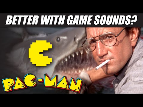 'JAWS' (1975) Dubbed With PAC-MAN Sounds!!   RetroSFX