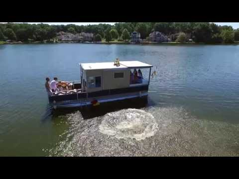 The Portage Lakes. Pontoon Boat/House - Drone Footage - August 22, 2105. Cleveland SkyEye