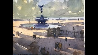 "Advancing with Watercolor: Working with Tonal Values - ""Shadows across  Bethesda Terrace"""