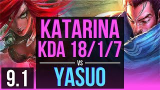 katarina vs yasuo mid kda 1817 9 solo kills legendary na diamond v91