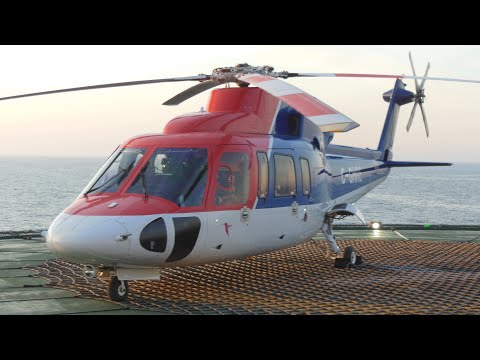 Sikorsky S-76 Helicopter Offshore Landing and Shutdown