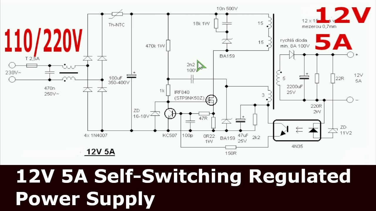 12V 5A Flyback Self-Switching Power Supply with Regulation ...
