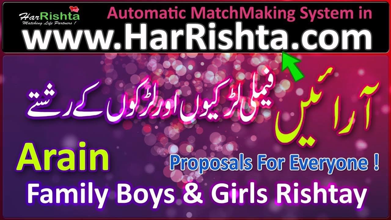 Arain Family Girls and Boys Best Rishtay Arain Proposals
