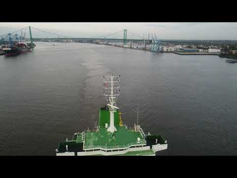 Aerial Drone Video of Cargo Ship Benjamin Naree Delaware River Philadelphia