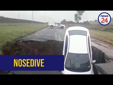 WATCH: Sinkhole engulfs car as flooding hits Pretoria