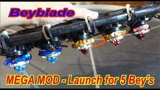 Beyblade- Mega MOD - launch for 5 beys | бейблейд | бейблэйд | бейблейд берст | бейблэйд бёрст