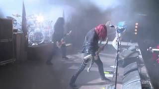 Swedish band Arch Enemy performing Avalanche live at Hellfest in Cl...