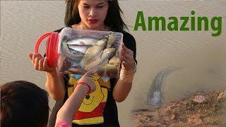 Amazing Bottle Plastic Trap Fish - Woman Catch Fish Using Bottle Plastic Trap