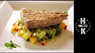 High Protein Lunch- Sesame & Chia Seed Tuna With A Cool Mango Salsa