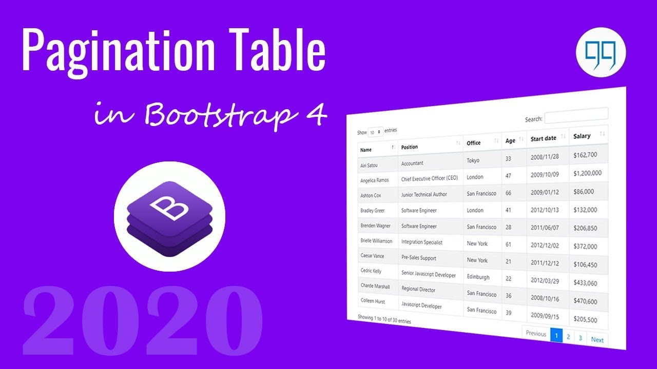 How to create pagination table in Bootstrap 4 using datatables js