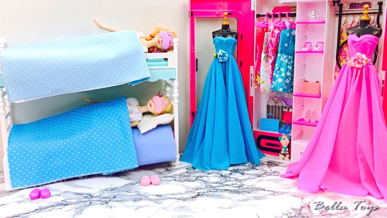 chambre de princesse elsa anna reine des neiges lit superpos poup e barbie salle de bain youtube. Black Bedroom Furniture Sets. Home Design Ideas