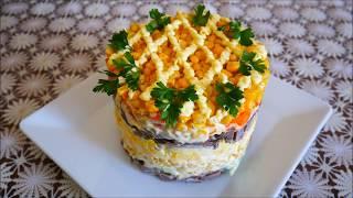 САЛАТ рецепт ВКУСНЫЙ и СЫТНЫЙ салат на ПРАЗДНИЧНЫЙ стол Салат с кукурузой и сердцем салаты рецепты
