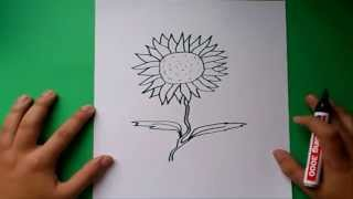 Como dibujar un girasol paso a paso | How to draw a sunflower