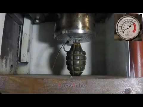 El Bombası hidrolik pres ile ezilirse ne olur?( ps:videonun sesini kısın)