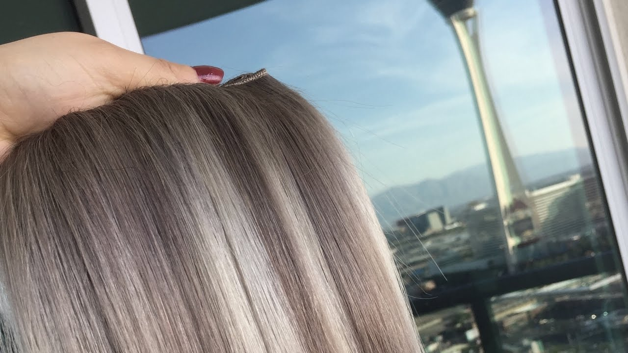 Medium Ash Blonde Balayage Hair Extensions Silky Straight Weaving