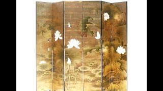 Set/ 6 Pieces Chinese Double Sides Gold Lotus Painting Room Divider Panel Wk2815