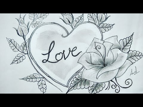 Rose Drawing With Heart Step By Step Rose Drawing Youtube