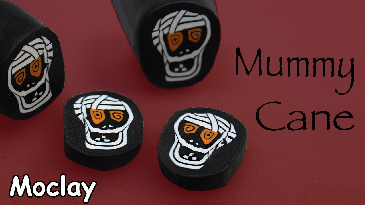 diy halloween decoration mummy polymer clay cane