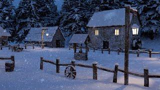 BLIZZARD SNOWSTORM | 10 Hour Medieval Snow Village Ambiance