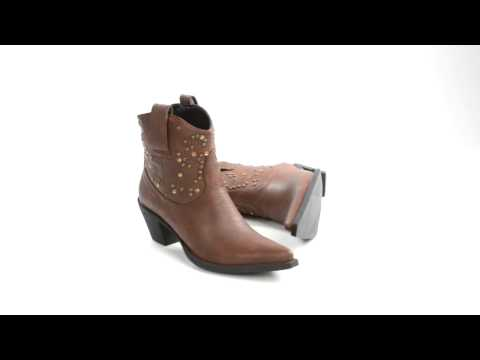 Roper Rock Star Studs and Stones Ankle Boots - Faux Leather, Pointed Toe (For Women)