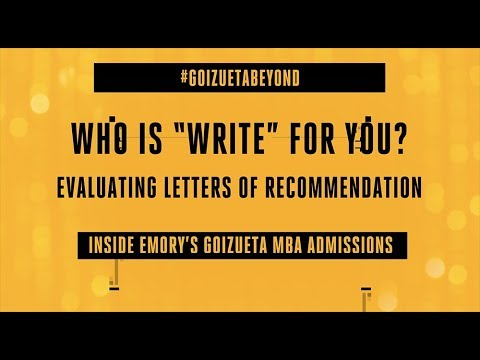 Emory Mba Admissions  Letters Of Recommendation  Youtube