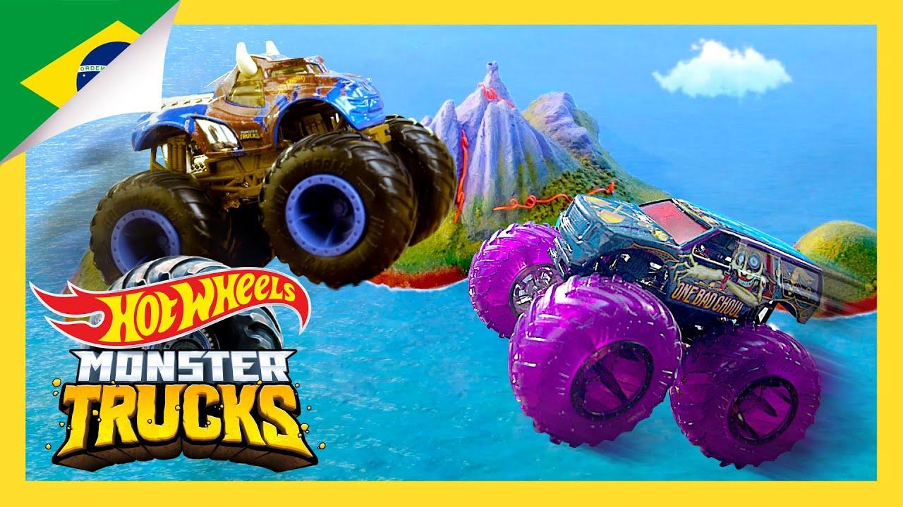 Monster Truck Desafio de Corridas Extremas! | Ilha Monster Trucks | Hot Wheels Português