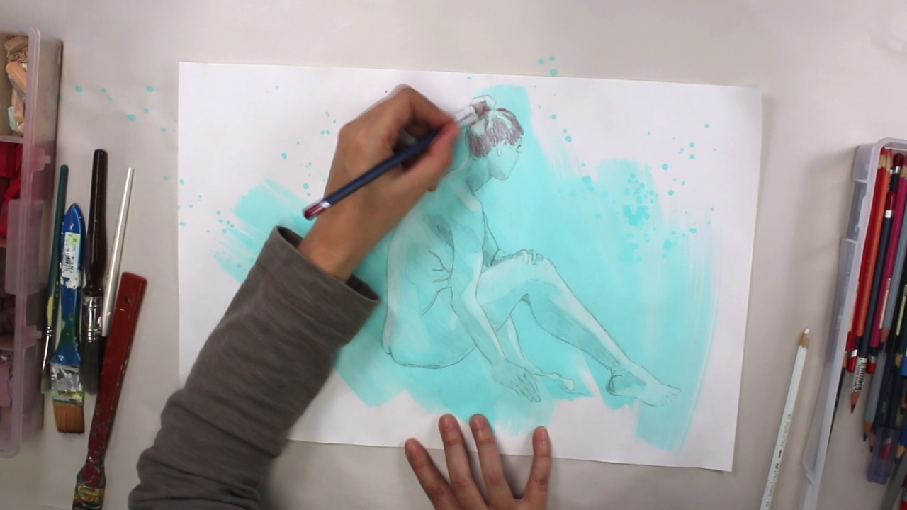 How To Paint Over Life Drawings With Mixed Media Acrylic