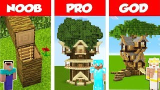 Minecraft HIDDEN TREE HOUSE CHALLENGE NOOB Vs PRO Vs GOD In Minecraft Animation