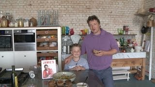 Jamie Oliver watches 9-year-old cook his burgers