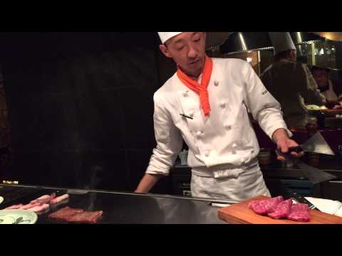 Cooking Kobe beef by Chef at Wakkoqu Teppanyaki Restaurant.