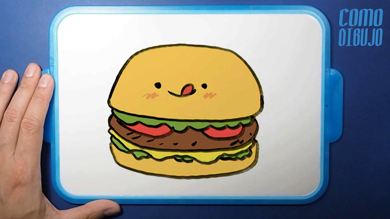 Como Dibujar y Colorear Hamburguesa paso a paso   Dibujos