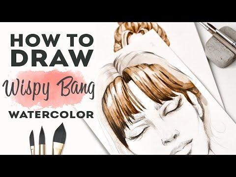КАК НАРИСОВАТЬ ЧЕЛКУ АКВАРЕЛЬЮ   Как рисовать волосы. Уроки рисунка для начинающих