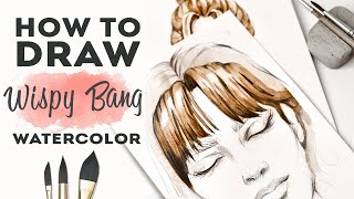 КАК НАРИСОВАТЬ ВОЛОСЫ С ЧЕЛКОЙ АКВАРЕЛЬЮ | Как рисовать волосы. Уроки рисунка для начинающих