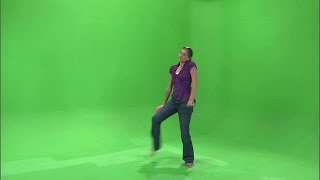 Girl Dancing in Purple Shirt and Jeans on Greenscreen 4   Video Footages   People