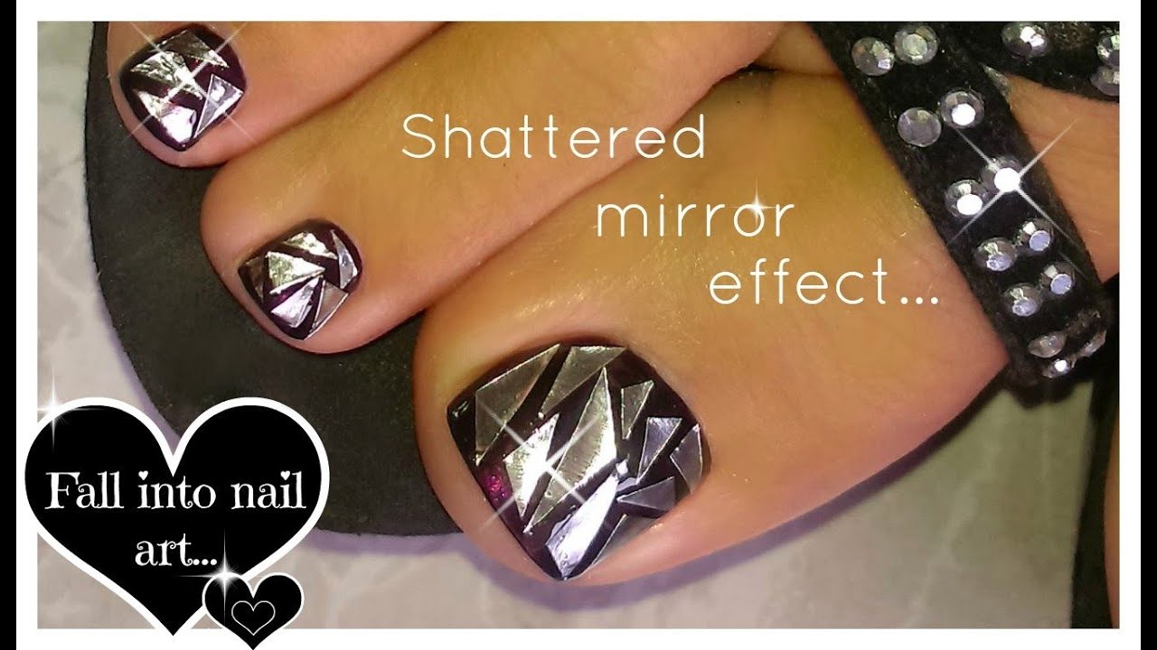 How to shattered glass nail art broken mirror effect toenail art how to shattered glass nail art broken mirror effect toenail art diseo de uas espejo roto youtube prinsesfo Choice Image