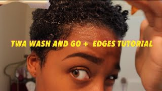Wash and go short natural hair + edges tutorial!