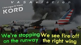 [REAL ATC] American B763 RTO + CAUGHT FIRE at Chicago O'Hare! | 3D