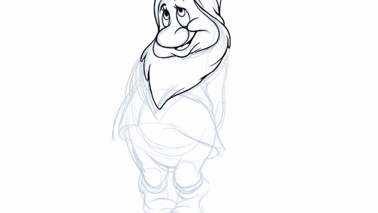 how to draw dwarfs bashful in disneys snow white and the seven dwarfs