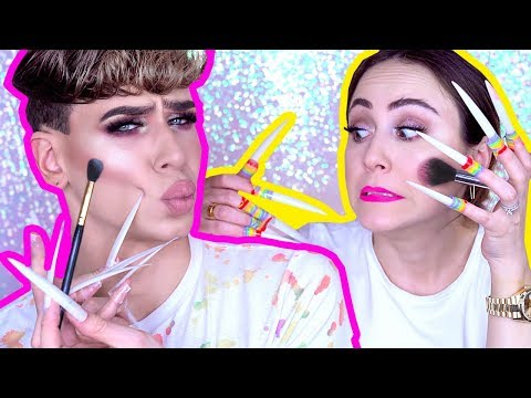 LONG FAKE NAILS Makeup Challenge 💅 mit Marvyn Macnificent   MENTAL BREAKDOWN   Hatice Schmidt