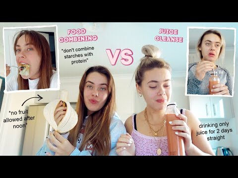 """Twins follow different """"FAD DIETS"""" for 48hrs... *experiment* (Food Combining & Juice Cleanse) thumbnail"""