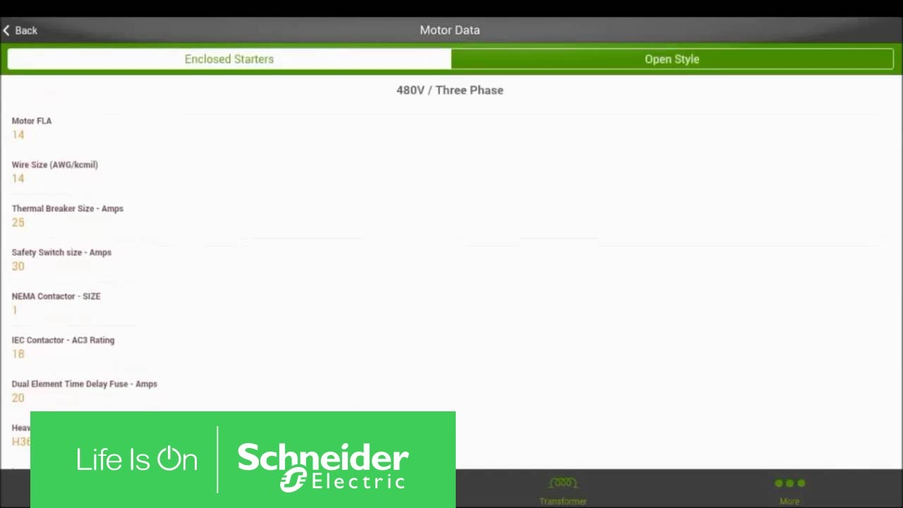 using the motor data calculator mobile app schneider electric support [ 1280 x 720 Pixel ]