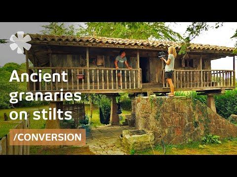 Asturian hórreo: old granary on pillars as tiny summer cabin